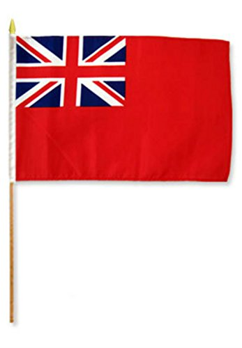ALBATROS 12 inch x 18 inch British Red Ensign Stick Flag with Wood Staff for Home and Parades, Official Party, All Weather Indoors Outdoors