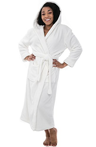 Del Rossa Womens Fleece Robe, Long Hooded Bathrobe, Small Medium White (A0116WHTMD)