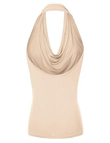 4782b837fed372 Doublju Womens Sleeveless Sexy Halter Drape Cowl Neck Top with Plus Size