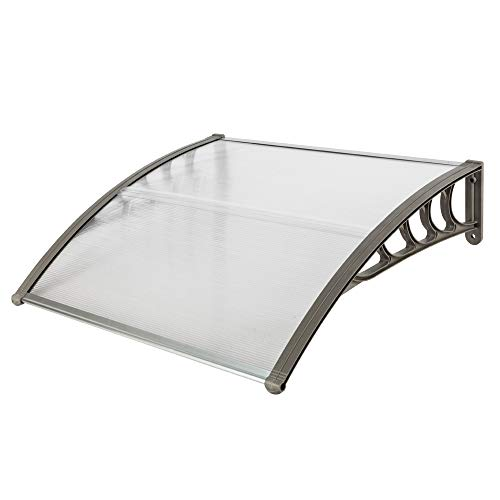 Door Window Awning Font Door Rain Cover Outdoor Patio Canopy Sun Snow Protection Polycarbonate Door Awning Cover Front Door Outdoor Patio Canopy Sun Shetter Window Awning (39.37 x 39.37 x 9.84)