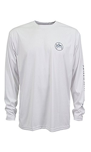 (Guy Harvey Men's Marlin Sketch Pro UVX Performance Long-Sleeved T-Shirt, White, Large)