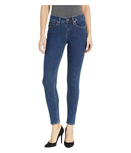 (Silver Jeans Co. Women's Avery Curvy Fit High Rise Skinny Jeans, Power Stretch mid wash, 32x29)