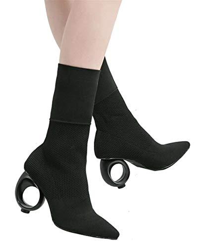 hauts la femmes à noires Sk à talons pour Chaussettes Bottes mode Bottines Studio extensibles qYWtP