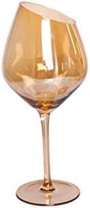 ShawnBlue 2 PCS Distinguished Art 200-600ml Oblique Cut Cubier Barra de la Familia Barra de Arco Iris Color Smoky Grey Amber Red Wine Cup Champagne Wine Webware (Color : Orange)