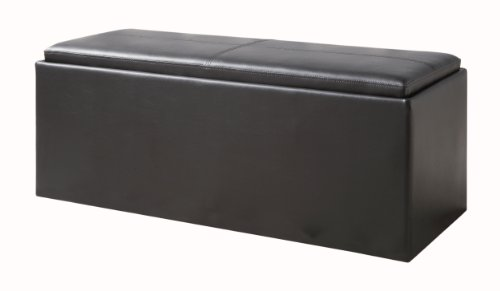 Homelegance 4738PU Homelegance Blasey Storage Bench with 2 Ottomans, Bi-Cast Vinyl, Dark Brown