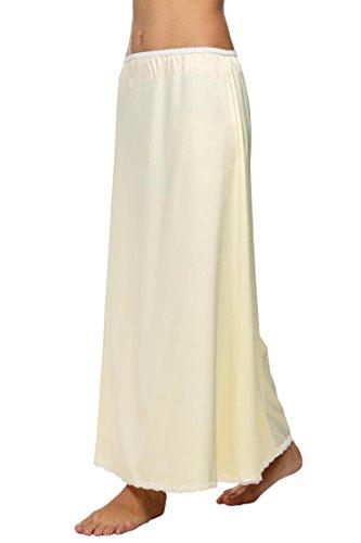 cooshional Falda largo de encaje de verano falda de cintura elástica para las mujeres Beige