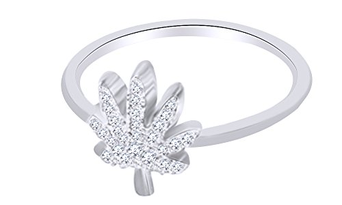 Round Cut White Diamond Marijuana Leaf Engagement Ring In 14K White Gold Over Sterling Silver (0.1 Cttw), Ring Size: 6