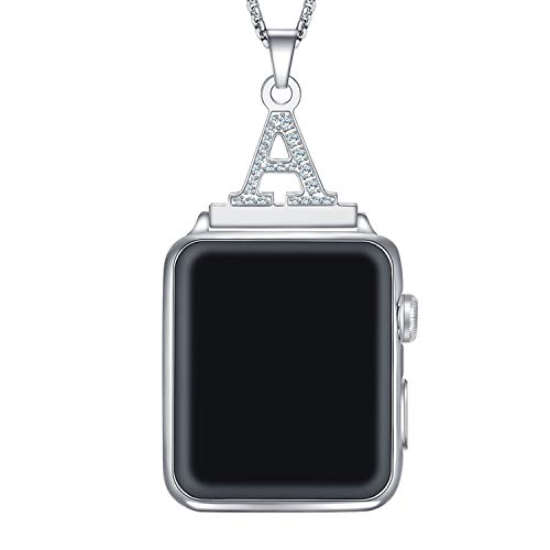 Callancity Alphabet Letter A Z Necklace Pendant Watch Connector Adapter 38mm 40mm 2 in 1 Stainless Steel Crystal Box Chain Compatible for Apple Watch Series 5/4/3/2/1 (A)