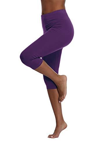 Kotii Women's Plus Size Stretch Leggings Soft Capri Leggings Summer Tights Pants, Purple,Fits S-M ()