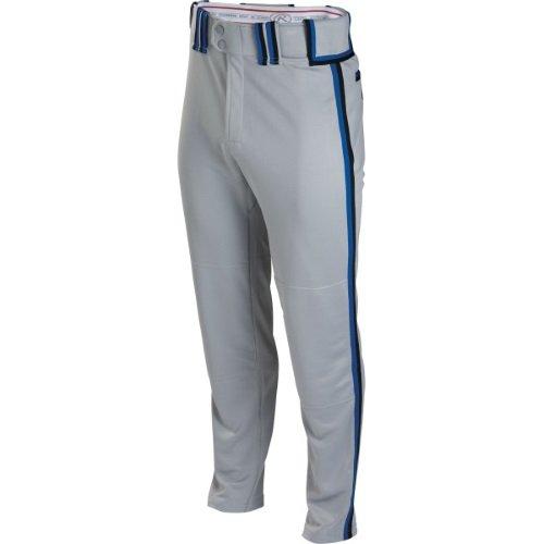 Boy's Rawlings Sporting Goods Boys Youth Semi-Relaxed Pant with Braid, Grey/Black/Royal, Medium (Rawlings Boys Baseball Pants)