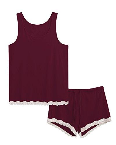 GYS Women's Bamboo Pajama Tank and Shorts Set (L, Carmine)