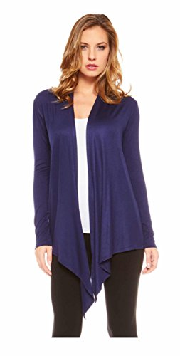 Red Hanger Women's Light Weight Open Front Drape Cardigan Sweater Made In USA Navy - In Sale Usa Season
