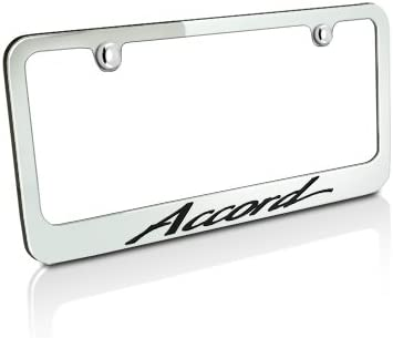 HONDA ACCORD Chrome Plated Brass License Plate Frame with Chrome Caps AUTHENTIC