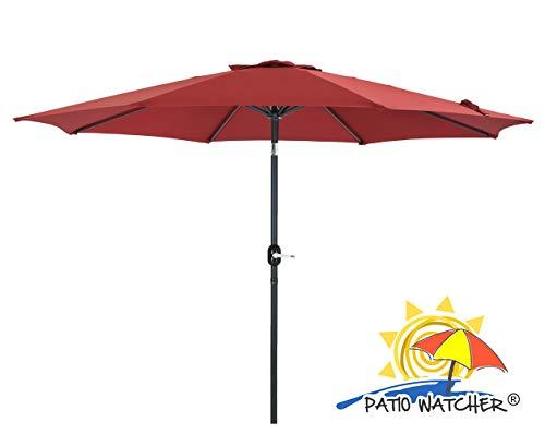 Patio Watcher 11 Feet Patio Umbrella 8 Ribs Outdoor Table Umbrella with Push Button Tilt and Crank for Market, Garden, Yard, Pool, Deck, Beige, Red
