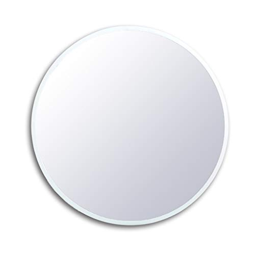 Bathroom Wall Mirror,Round Bevelled Wood Frame Glass Mirror with Drilled Holes and -