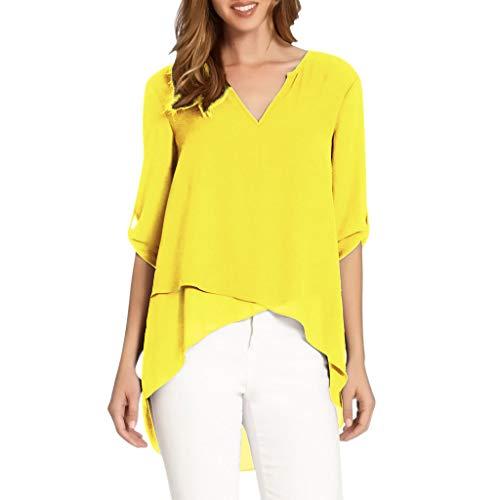 HAALIFE ◕‿ Women's Spring Solid Chiffon Tops Casual 3/4 Sleeve Irregular Hem Asymmetrical Tunic Loose Long Blouse Tops Yellow