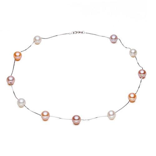 Argent sterling S925paialco Boîte chaîne perle collier de perles thri-colors 8-9mm, 45,7cm