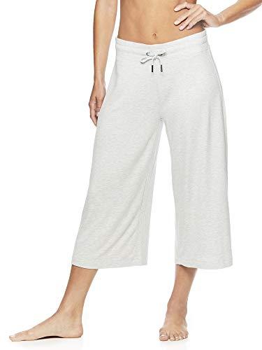 Gaiam Women's Wide Leg Crop Yoga Pants - Flowy Culotte Style Bottoms w/Drawstring Waist - Grey Heather, X-Large