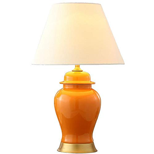ZSAIMD Tabla moderna lámpara naranja Sombra de cerámica for el dormitorio de la sala de la familia de Noche Tabla…