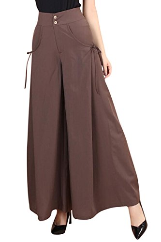 Lace Up Sailor Pants - COCOLEGGINGS Women's High Waist Wide Leg Casual Pants Ankle-Length Coffee 2XL