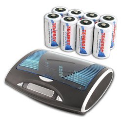 Combo: Tenergy T9688 Universal LCD Battery Charger + 8 Premium C 5000mAh NiMH Rechargeable Batteries by Tenergy