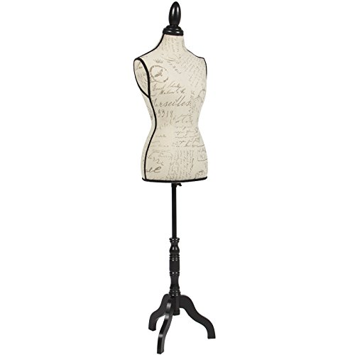Female Mannequin Torso Dress Form Display Tripod Stand - Bald For Face Glasses Round