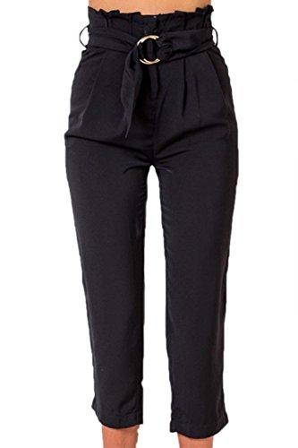 Ceinture Taille Pantalon D'été Avec Pirate Pantalons Élégantes Noir De Casual Moderne Femmes Haute Unicolor Mode Haidean nTIzOO