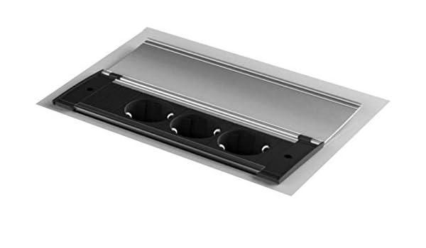 Toma de Corriente Tipo F, Negro, Aluminio, 2,15 A, 5,2 V, 45 mm Bachmann Kapsa Tipo F Negro