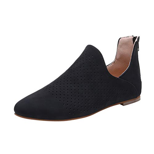 OrchidAmor Women's Ladies Fashion Solid Pointed Toe Flat Hollow Out Roman Single Shoes Black