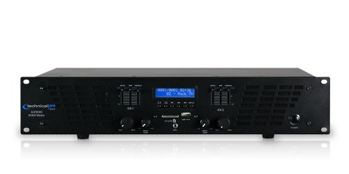 - Technical Pro AX AMPLIFIER SERIES AX5000 5000 watts of peak power 2U Professional 2 Channel Power Amplifier, Black