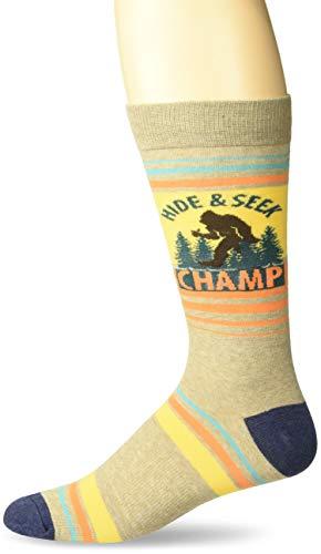 K. Bell Men's Play On Words Novelty Crew Socks, Brown (Hide & Seek), Shoe Size: 6-12