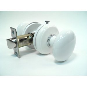 Gainsborough Genuine Porcelain Bed U0026 Bath Locking Door Knob   White With  Bright Chrome Accent