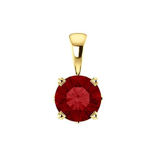 Bonyak Jewelry Lab-Created Ruby 14k Yellow Gold Chatham Created Ruby Scroll Setting Pendant