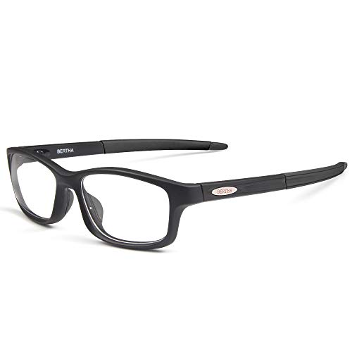 Bertha Sports Glasses With Interchangeable Arms for Men Running Fishing Golf Baseball Glasses 004 (Black) -