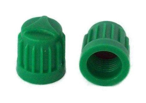 Green Valve Stem Caps - SKU 704 -Economy Pak 1,000 - Green Plastic Nitrogen 'Valve Caps with Silicone Inner Seal