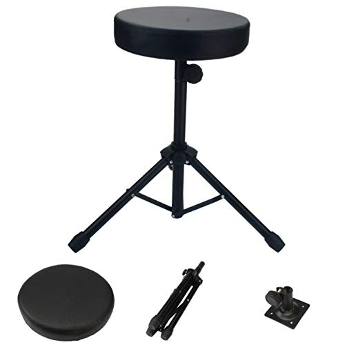Drum Throne,Professional Drum Stool Rotatable Drumming Chair Padded Seat Skidproof Drum Stand Set Accessories for Drummers Black