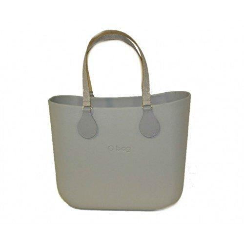 O Bag borsa grande grigia con manici micro texture
