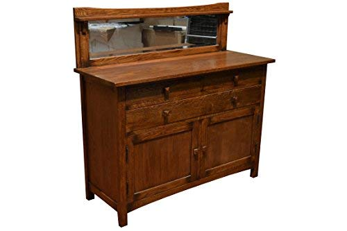 Arts and Crafts Mission Oak Sideboard Buffet with Back Mirror - Mirror Back Sideboard