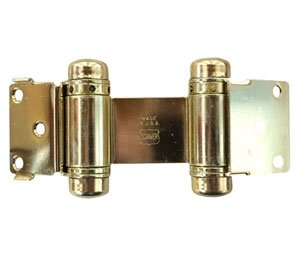 Bommer 1515-632 Louver Door Double Acting Spring Hinge-Light Duty Mortise Type-Steel Base-Polished Brass Plated