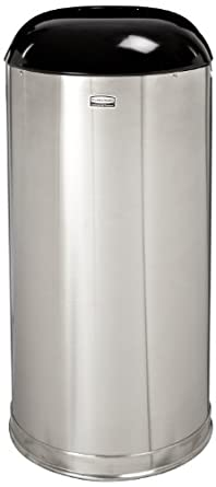Rubbermaid Commercial European and Metallic Drop-In Dome Top Receptacle, Round, 15 Gallons, Satin Stainless (R32SSSGL)