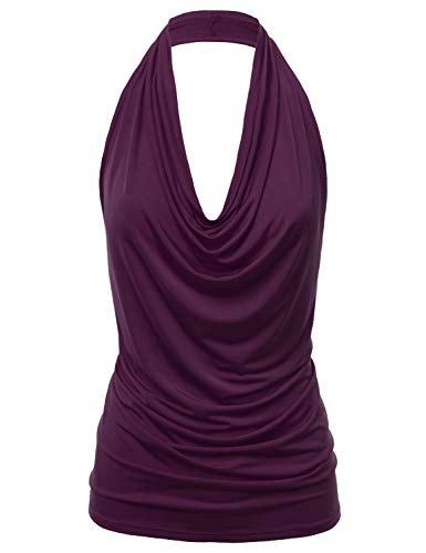 (FASHIONOMIC Women's Casual Halter Neck Draped Front Sexy Backless Tank Top (S-3XL) (CLLTJ316) Plum S)