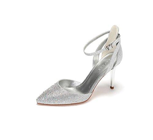 38 de de puntiagudas alto Plata Lady Sandalias Color boda Zapatos Tamaño Fashion Elegant tacón de Heels High aTqdxxwSC