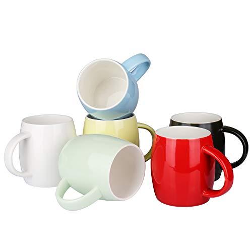 Alt-GT Porcelain Large Mugs for Coffee, Tea, Cocoa, Latte,Ceramic Mulled Drinks Restaurant Mug Set,16 Ounce,Set of 6(Multicolor-16oz) - Coffee Giants Set Mug