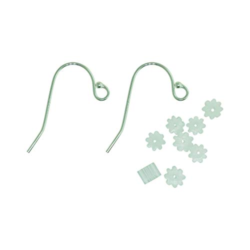 BangkokBead 925 Sterling Silver Earring Hooks for Jewelry Making 25 Pairs (50 Pieces) Fish Hook Ear Wires Free 50 Pieces Clear Rubber Earring Safety Back
