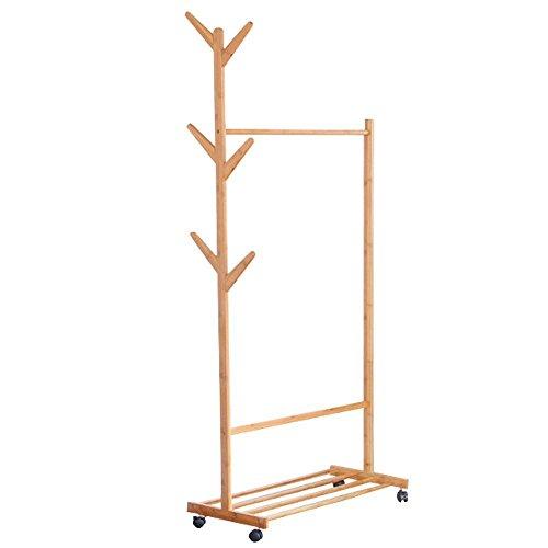 LIMAM Bamboo Coat Rack Display Stand Hall Tree Removable-style Coat Rack Standing Coat Hanger Coat Hooks Portable Clothing Rack (70x38x176cm)