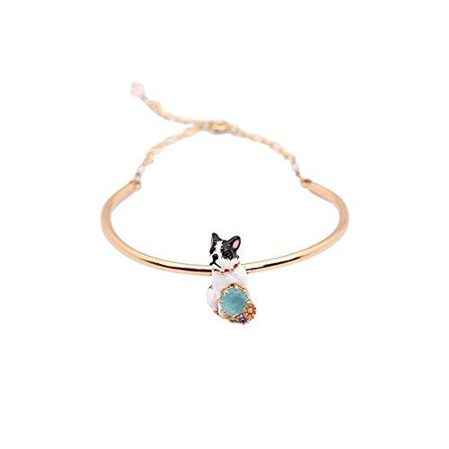 Z&HA Women's Charm Bracelet Novelty Retro Handmade Enamel Glaze Bulldog Gem Bracelet Gold Plated Jewelry Designer Brand Fine Gift