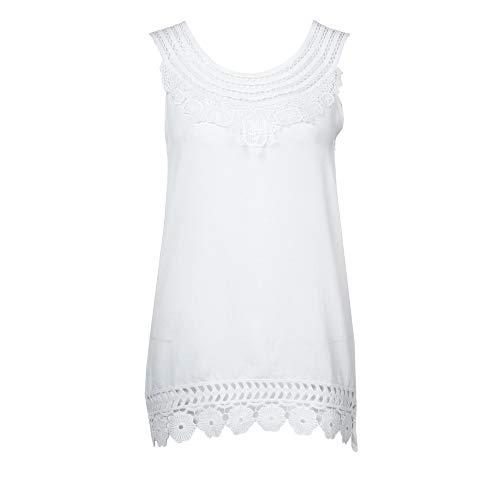Women Loose T-Shirt O-Neck Blouse Sleeveless Pure Color Lace Plus Size Vest Tops White