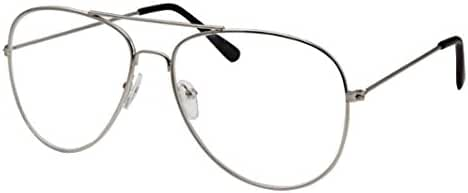 WebDeals - Clear Lens Aviator Eyeglasses Classic Retro Metal Frame…