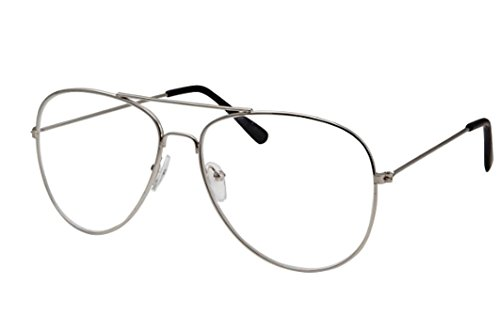 webdeals clear lens aviator eyeglasses classic retro metal frame silver large clear