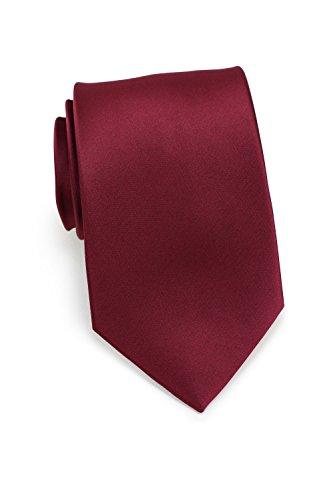 - Bows-N-Ties Men's Necktie Solid Color Microfiber Satin Tie 3.25 Inches (Wine Red)